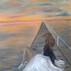 Mar y mujer cuadro